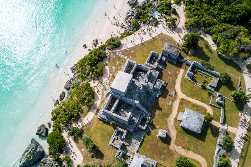 Tulum Ruins from Above, The Tulum Mayan Ruins
