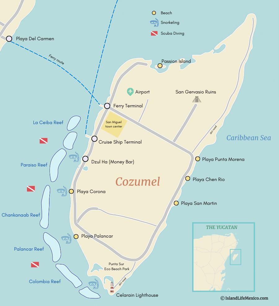 Cozumel Map. cozumel beaches map
