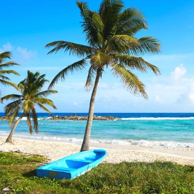 Remote beach on Cozumel