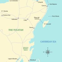 Island Life Mexico Yucatan Map Light